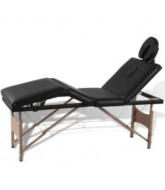 Κρεβάτι μασάζ Πτυσσόμενο 4 θέσεων με ξύλινο σκελετό Μαύρο  110095
