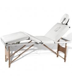 Κρεβάτι μασάζ Πτυσσόμενο 4 θέσεων με ξύλινο σκελετό Κρεμ  110096