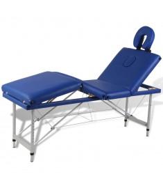 Κρεβάτι Μασάζ Πτυσσόμενο 4 Θέσεων Μπλε με Σκελετό Αλουμινίου  110097