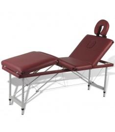 Κρεβάτι Μασάζ Πτυσσόμενο 4 Θέσεων Κόκκινο με Σκελετό Αλουμινίου  110098