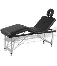 Κρεβάτι μασάζ Πτυσσόμενο 4 θέσεων Σκελετός αλουμινίου Mαύρο  110099