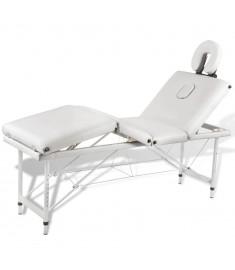 Κρεβάτι μασάζ Πτυσσόμενο 4 θέσεων με σκελετό αλουμινίου Κρεμ  110100