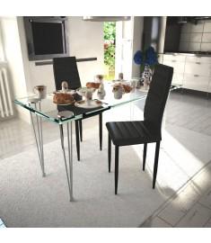 Καρέκλες Τραπεζαρίας με Λεπτή Γραμμή 2 τεμ. Μαύρες   241496