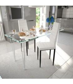 Καρέκλες Τραπεζαρίας με Λεπτή Γραμμή 2 τεμ. Λευκές    241498