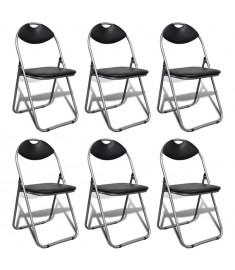 Καρέκλες Πτυσσόμενες 6 τεμ. Μαύρες με Ατσάλινο Σκελετό   241494