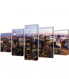 Πίνακας σε Καμβά Σετ Θέα από Ψηλά Ορίζοντας Νέα Υόρκης 100 x 50 εκ.  241546