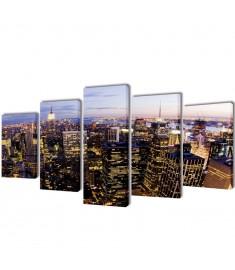Πίνακας σε Καμβά Σετ Θέα από Ψηλά Ορίζοντας Νέα Υόρκης 200 x 100 εκ.  241547