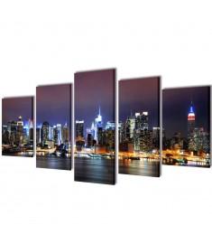 Πίνακας σε Καμβά Σετ Πολύχρωμο Ορίζοντας Νέας Υόρκης 100 x 50 εκ.  241550