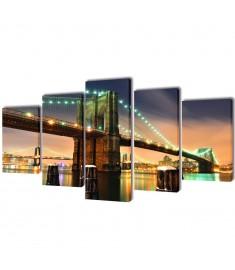 Πίνακας σε Καμβά Σετ Γέφυρα του Μπρούκλιν 200 x 100 εκ.  241553