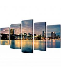 Πίνακας σε Καμβά Σετ Γέφυρα του Μπρούκλιν Θέα από την Όχθη 200x100 εκ.  241555