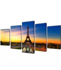 Πίνακας σε Καμβά Σετ Πύργος του Άιφελ 100 x 50 εκ.  241558