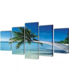 Πίνακας σε Καμβά Σετ Αμμώδης Παραλία με Φοίνικα 200 x 100 εκ.  241561