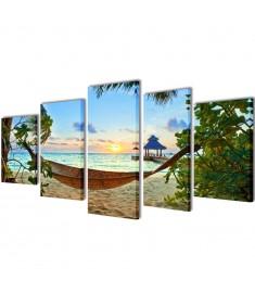 Πίνακας σε Καμβά Σετ Αμμώδης Παραλία με Αιώρα 200 x 100 εκ.  241563