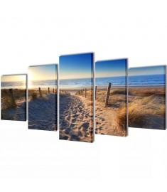 Πίνακας σε Καμβά Σετ Αμμώδης Παραλία 200 x 100 εκ.  241565