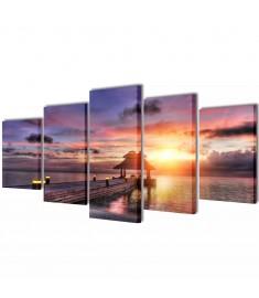 Πίνακας σε Καμβά Σετ Παραλία με Κιόσκι 100 x 50 εκ.  241566