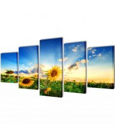 Πίνακας σε Καμβά Σετ Ηλιοτρόπιο 100 x 50 εκ.  241572