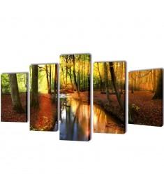 Πίνακας σε Καμβά Σετ Δάσος 100 x 50 εκ.  241578