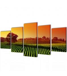 Πίνακας σε Καμβά Σετ Αγρός 200 x 100 εκ.  241581