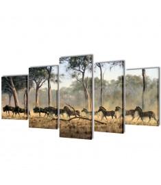 Πίνακας σε Καμβά Σετ Ζέβρες 200 x 100 εκ.  241583