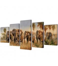 Πίνακας σε Καμβά Σετ Ελέφαντες 200 x 100 εκ.  241585