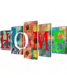 Πίνακας σε Καμβά Σετ Πολύχρωμο Σχέδιο Home 200 x 100 εκ.  241591