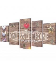 Πίνακας σε Καμβά Σετ Σχέδιο Home Sweet Home 100 x 50 εκ.  241592
