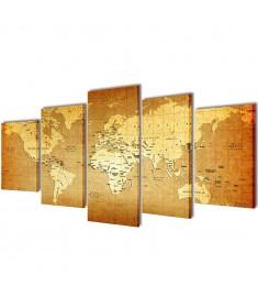 Πίνακας σε Καμβά Σετ Παγκόσμιος Χάρτης 100 x 50 εκ.  241596