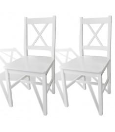 Καρέκλες Τραπεζαρίας 2 τεμ. Λευκές Ξύλινες   241510