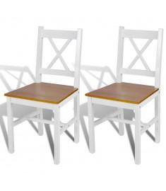 Καρέκλες Τραπεζαρίας 2 τεμ. Λευκό / Φυσικό Χρώμα Ξύλινες   241512