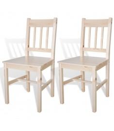 Καρέκλες Τραπεζαρίας 2 τεμ. Φυσικό Χρώμα Ξύλινες   241514