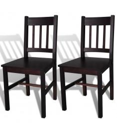 Καρέκλες Τραπεζαρίας 2 τεμ. Καφέ Ξύλινες   241516