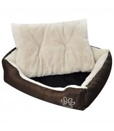 Κρεβάτι Σκύλου Ζεστό με Μαξιλαράκι Καφέ/Μπεζ XL   170206