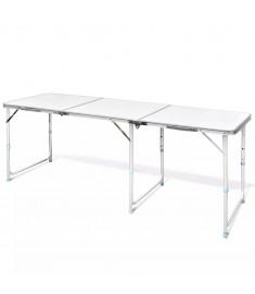 Τραπέζι Camping Πτυσσόμενο Ρυθμιζόμενου Ύψους 180 x 60 εκ. Αλουμινίου   41326