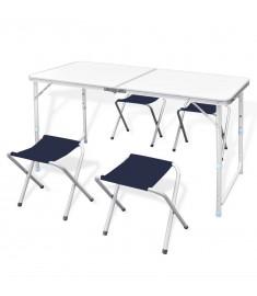 Τραπέζι Βαλίτσα Πτυσσόμενο με 4 Σκαμπό Ρυθμιζόμενο Ύψος 120 x 60 cm   41328
