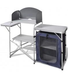 Τραπέζι Κουζίνας Camping Πτυσσόμενο Αλουμινίου με Προστατευτικό Αέρα  41330