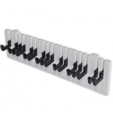 Κρεμάστρα Τοίχου με Σχέδιο Πλήκτρα Πιάνου και 16 Γάντζους Μαύρους