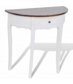 Κονσόλα Τραπέζι με Συρτάρι Ημικυκλική με Καφέ Επιφάνεια    241531