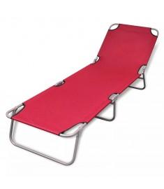 Ξαπλώστρα Πτυσσόμενη Κόκκινη Ατσάλινη με Ηλεκτροστατική Βαφή  41479