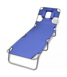 Ξαπλώστρα Πτυσσόμενη Μπλε Ατσάλινη με Ηλεκτρ. Βαφή & Μαξιλάρι  41481