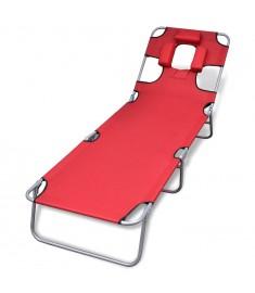 Ξαπλώστρα Πτυσσόμενη Κόκκινη Ατσάλινη με Ηλεκτ. Βαφή & Μαξιλάρι  41483