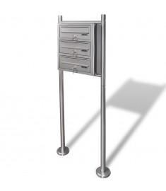 Τριπλό Γραμματοκιβώτιο σε Σταντ από Ανοξείδωτο Ατσάλι  50356