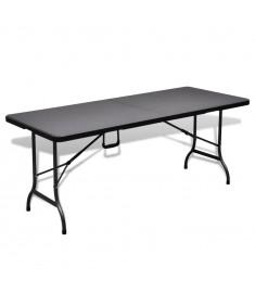 Τραπέζι Κήπου Αναδιπλούμενο Μαύρο HDPE Απομίμηση Ρατάν  41571