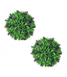 Σετ Πυξάρι με Λεβάντα Τεχνητό Φυτό σε Σχήμα Μπάλας 2 τεμ. 36 εκ.  41624