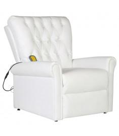 Πολυθρόνα Μασάζ Ηλεκτρική Ρυθμιζόμενη Λευκή Συνθετικό Δέρμα    241671