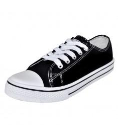 Sneakers Γυναικεία Χαμηλά με Κορδόνια Μαύρα Μέγεθος 37 Πάνινα