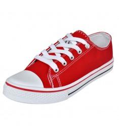 Sneakers Γυναικεία Χαμηλά με Κορδόνια Κόκκινα Μέγεθος 37 Πάνινα