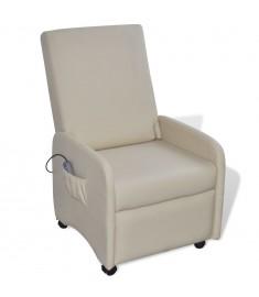 Πολυθρόνα Μασάζ Ηλεκτρική Ρυθμιζόμενη Κρεμ Συνθετικό Δέρμα    241682
