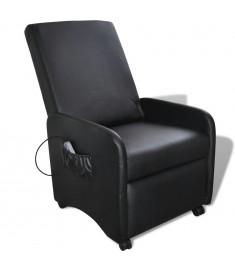 Πολυθρόνα Μασάζ Ηλεκτρική Ρυθμιζόμενη Μαύρη Συνθετικό Δέρμα    241683
