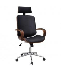 Καρέκλα Γραφείου Περιστρεφόμενη από Λυγισμένο Ξύλο & Δερματίνη  241686
