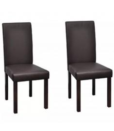 Καρέκλες Τραπεζαρίας 2 τεμ. Καφέ Δερματίνη/Ξύλινος Σκελετός  241763